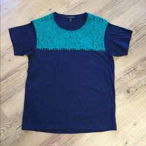 J Crew navy T-shirt with lace